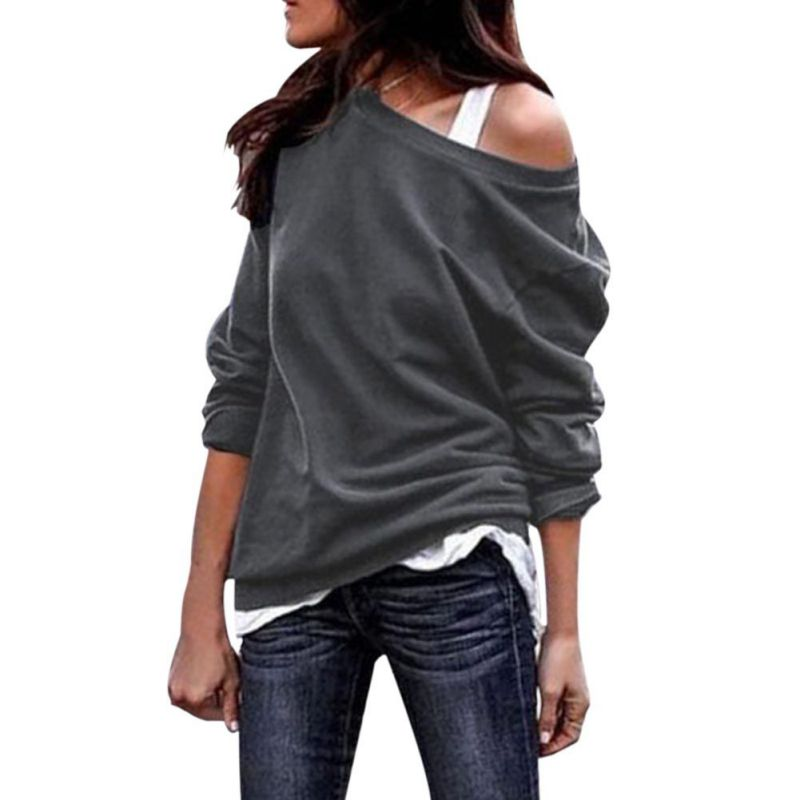 New Women Autumn Sexy Solid Color Round Collar Off-the-shoulder Long Sleeve Casual Sweatershirt Pullover Loose Tops H9