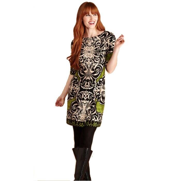 Jersey Verde Brand Designer Xxl Elasticizzato Seta Stampa Donne Del Mezza New Di Dalle Day Barocco Fashion Dress Manica Vestito SwpgqH7