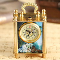 Romantic Bronze Casket Pocket Clock Watch Clock Retro Antique France Art Hand wind Mechanical Watch Oil Painting Dial Mens Gifts