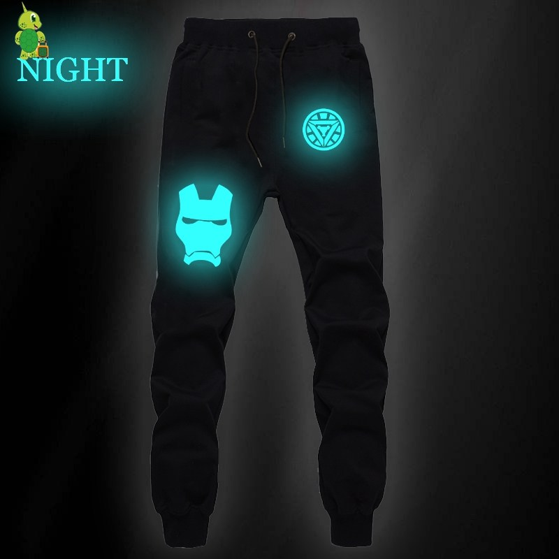 The Avengers Iron Man Pants Luminous Pants Men Joggers Men Sweatpants Streetwear Casual Pants Fitness Sweatpants Long Trousers