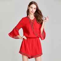 2018 Ladeis rompers womens summer red chiffon jumpsuit overalls boho sexy women funny bodysuit shorts pants plus size clothing