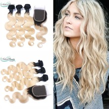 4 pcs a Lot Brazilian ombre 1b/613 Hair Body Wave Cheap 8A Virgin Brazilian Body Wave Human Hair Weave Wavy Bundles