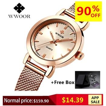 WWOOR Women Dress Watches Luxury Brand Ladies Quartz Watches Steel Mesh Band Casual Gold Bracelet Wristwatch Relogio Feminino дамски часовници розово злато