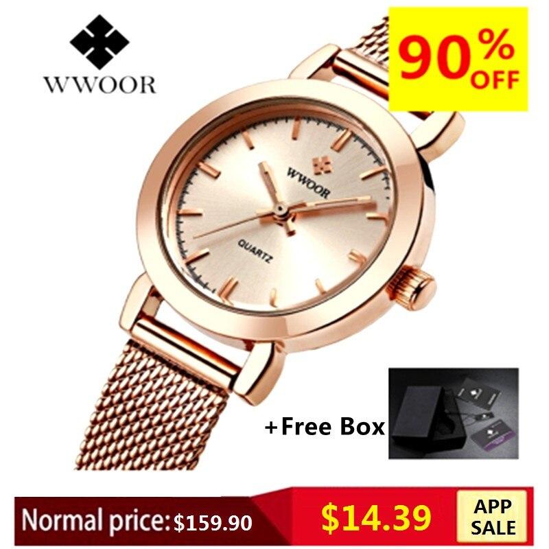 WWOOR vestido de las mujeres relojes de marca de lujo señoras reloj de cuarzo de acero inoxidable de malla de la banda de pulsera de oro reloj de pulsera reloj de mujer