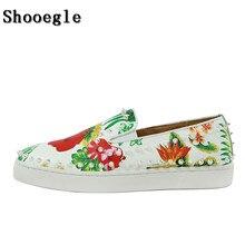 SHOOEGLE White Leather Printing Men Flat Casual Shoes Espadrilles Platform Mens Rivets High Quality Zapatillas Hombre
