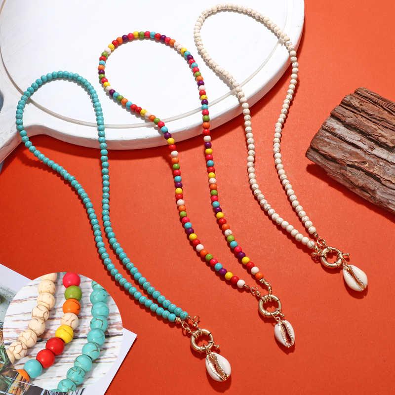 MINHIN Multicolor ลูกปัดสีขาว Choker สำหรับผู้หญิง Bohemian ฤดูร้อน Cowrie Shell จี้หินธรรมชาติสร้อยคอ Collier Femme