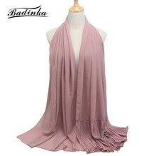 Badinka 2019 New 70x190cm Long Muslim Crinkle Hijab Scarf Shawl Stole Wrap Women Plain Chiffon Scarfs for Ladies Wholesale цена