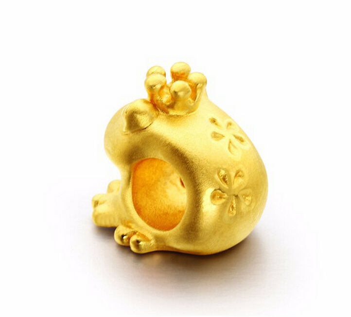 Luxury Fashion Design 3D 24k Yellow Gold Cute Frog Pendant 095g