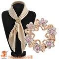 2016 Новый стиль Корейской моды розовый брошь ювелирные изделия Класса Люкс горный хрусталь гирлянды шарф клип свадебные броши булавки