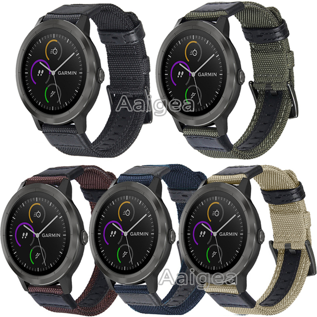 20mm Woven Nylon Watch Strap For Garmin Vivoactive 3 Band