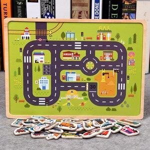 Image 4 - Rompecabezas magnético de madera para niños, juego de animales y vehículos de tráfico, juguetes educativos de aprendizaje preescolar, rompecabezas para niños