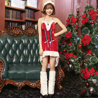 Free Shipping Women Christmas Costumes Sexy Red Christmas Dress Santa Claus Costumes for Adults Uniform with hat,dress ,leg fur