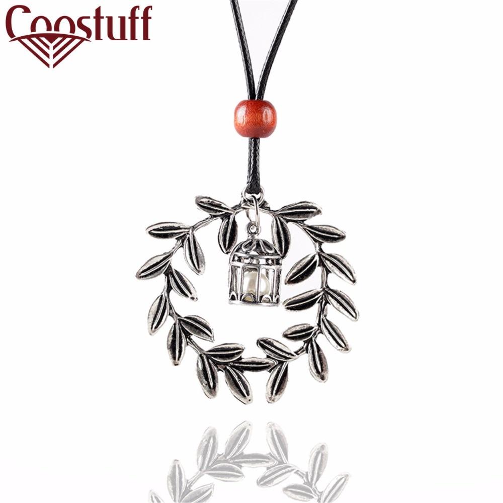 a092f0df6c4b Vintage de Plata BirdCage con Hojas Colgante Collar Largo collar collares  Mujeres Gargantilla joyas collares collier colar kolye