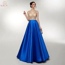 Royal Blue Evening Dresses Beading Crystal 2019 Illusion A Line Satin V Neck Sleeveless Prom Gowns Formal Party Graduation Dress недорго, оригинальная цена