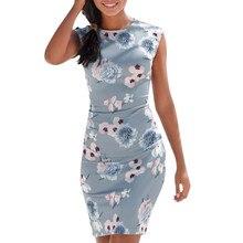 Vintage Bodycon vestido mujeres fiesta primavera sin mangas Polka Tight Print elegantes señoras 2019 verano Midi vestidos Plus Size # P30