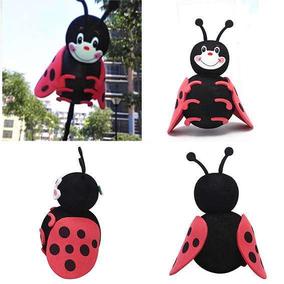 Lovely Cute Auto Car Antenna Pen Topper Aerial Decor Ball Black Lady Beetle Top