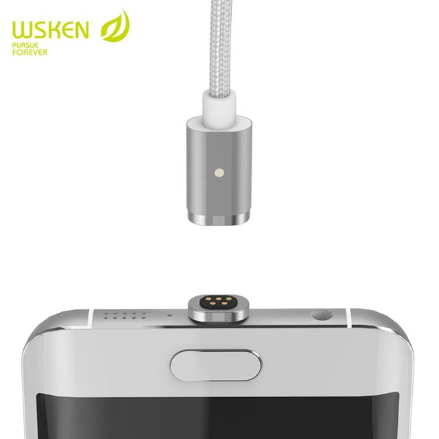 WSKEN Metal mini 2 cabo magnético 2 em 1 Cabo usb para iphone7 6 s/6 s plus e carregamento de sincronização de dados micro usb telefones android rápida