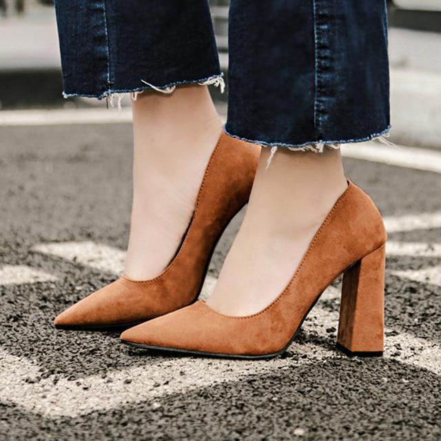 Zapatos mujer Мода Замши Повседневная Насосы Острым Носом Офисные Туфли Корейский Стиль Блок Высокий Каблук Европейский Американский Обувь