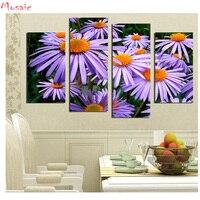 2018 Hot Sale DIY Diamond Painting Daisy flower Cross Stitch diamond Embroidery purple plants full square Mosaic wall decor 4pcs