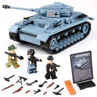 Technik Military Bricks Sets Compatible LegoINGly WW2 German Tank Army City Soldier Police Weapon Building Blocks Toys for Boys