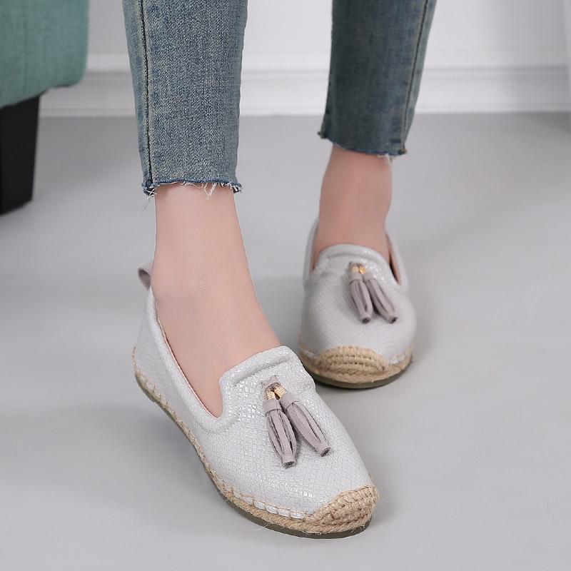 Merek Wanita Loafers Slip Pada Rumbai Sepatu Wanita Kasual Datar - Sepatu Wanita - Foto 5