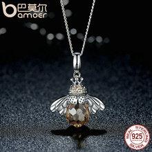 Sterling Silver Lovely Orange Bee Animal Pendants Necklace for Women