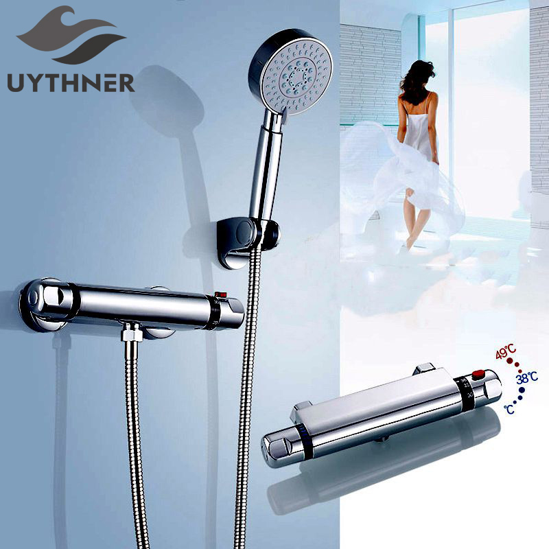 Uythner Bathroom Full Copper Thermostatic Shower Faucet Mixer Tap Constant temperature control valve+ABS Handspray Chrome Finish dual handle thermostatic faucet mixer tap copper shower faucet thermostatic mixing valve bathroom wall mounted shower faucets
