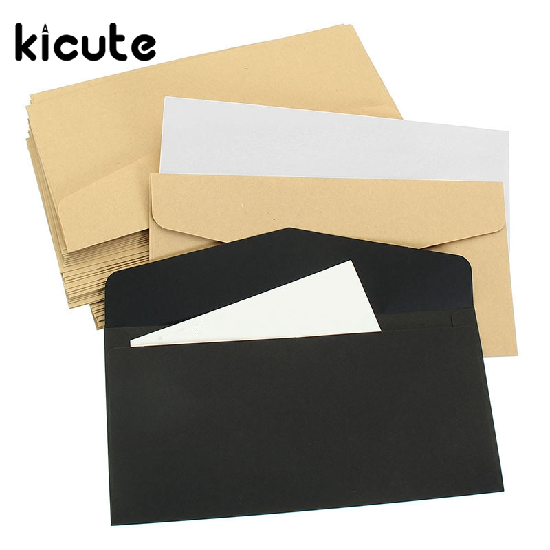 Kicute 50Pcs Vintage Design Brown White Black Kraft Blank Mini Paper Window Envelopes Wedding Invitation Envelope Gift Envelope