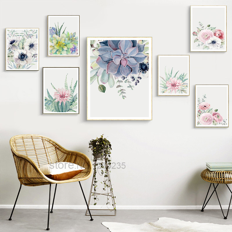Nordic Poster Succulent Plants Posters And Prints Cactus Cuadros Wall Art Canvas Painting Wall Pictures For Living Room Unframed