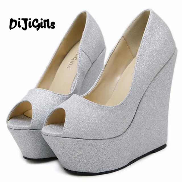 Glitter Sequined Wedge High Heels Women Platform Pumps Ladies Sexy Fetish Party Prom Wedding Woman Dress Shoes Woman Gold Silver