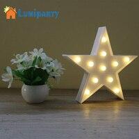 Lumiparty Dekoracyjne Światła Gwiazda Kształt Litery LED Marquee Namiot Znak Światła LED Zasilane z Baterii dla Domu Dekoracje Na Boże Narodzenie