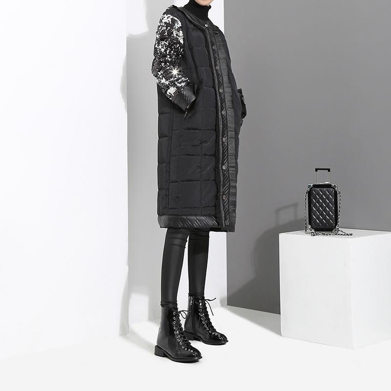 Femmes Corée Zll2516 Large Poitrine xitao Long Unique Stand Automne À Couleur Solide Parka Col Black 2018 Paillettes De Taille Mode fwFtqUYt