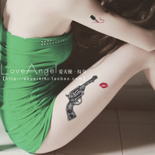 LEEMIN Temporary Tattoo, Gun And Lip,thigh/arm/back, Waterproof Tattoo Stickers Women