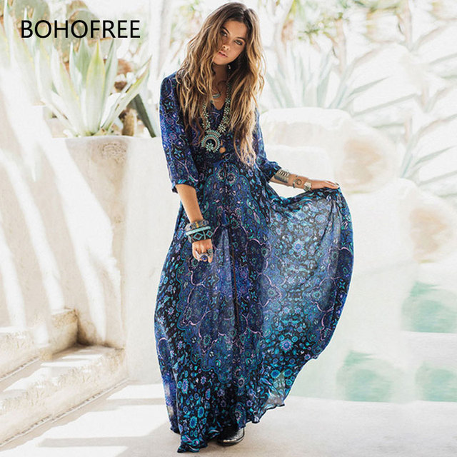9c35f215c3636 US $28.55 |BOHOFREE Gypsy Soul Bohemian Style Floral Chiffon Dress Women  Boho Chic Maxi Hippie Dress Femme Holiday Beach Vestidos -in Dresses from  ...