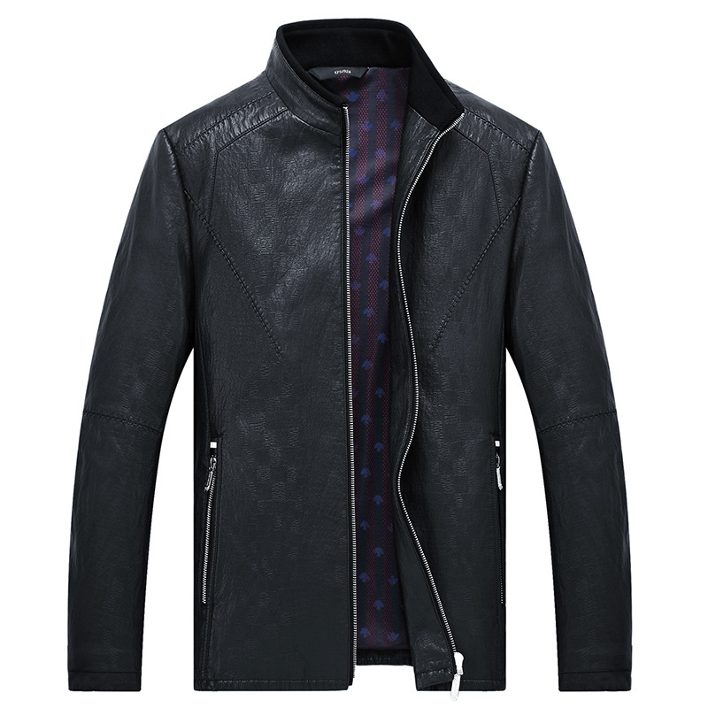 MSAISS 2017 New Spring Men's Brief Paragraph Coat Leisure Men's Collar Leather Jacket Large Size Black Men's Leather Jacket - 2