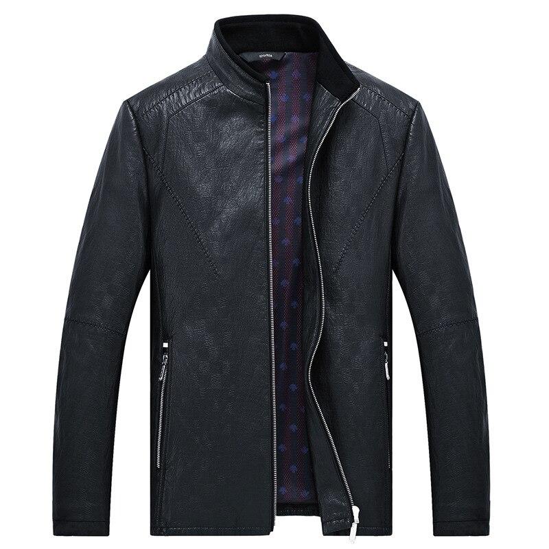 MSAISS 2017 новая весенняя Мужская короткая куртка для отдыха мужская кожаная куртка с воротником Большой размер Черная мужская кожаная куртка - 2