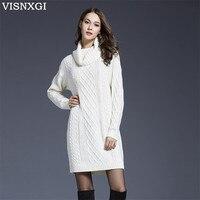 VISNXGI High Quality Mini Dress Vestido Winter Sweater Women And Pullovers Autumn Dress Women Sweaters And