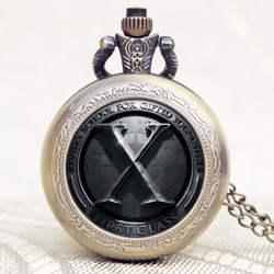 Винтаж Ретро X-Man фильмы расширение X оригинальные карманные часы прохладный черный Fob часы с цепочкой цепочки и ожерелья для подарка Relogio де