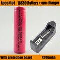 Os mais recentes de Alta Qualidade 100% Original 18650 1 pçs/lote + carregador de Bateria 4200 mAh Bateria de Iões de lítio 3.7 v 18650 Bateria recarregável
