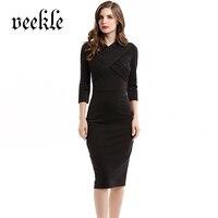 VEEKLE Women Summer Spring Sexy Rockabilly Elegant Classic Midi Bodycon Party Wrap Short Dress Black Solid