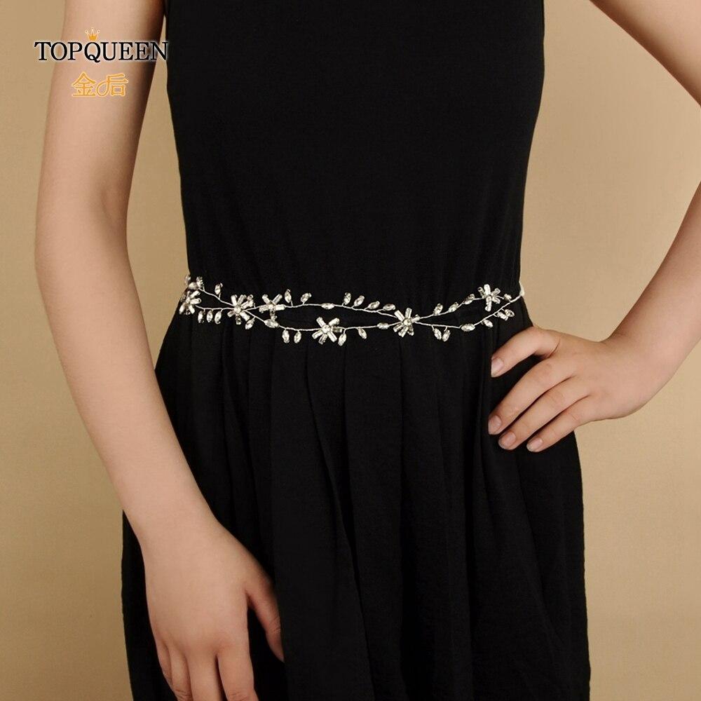 TOPQUEEN SH81 Bridal Belt For Women Wedding Dress Belt For The Bride Bridesmaids Dress Thin Bridal Sash Rhinestone Belts