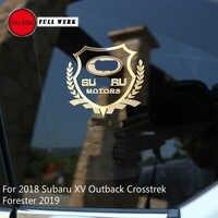 1pc liga de metal corpo do carro janela lateral adesivo interior decalque para subaru xv 18 19 outback crosstrek forester 2019 brz acessórios