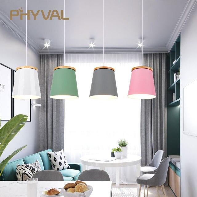 Lampe suspendue en bois et en fer au design nordique moderne, luminaire dintérieur en aluminium, LED ampoules, idéal pour une chambre à coucher ou une cuisine, E27