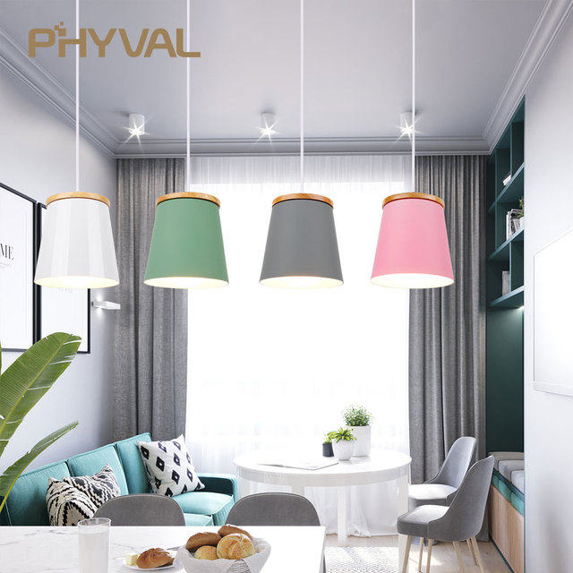 Wooden Nordic Pendant Lights For Home Lighting Modern Hanging Lamp Aluminum Lampshade LED Bulb Bedroom Kitchen Light iron E27