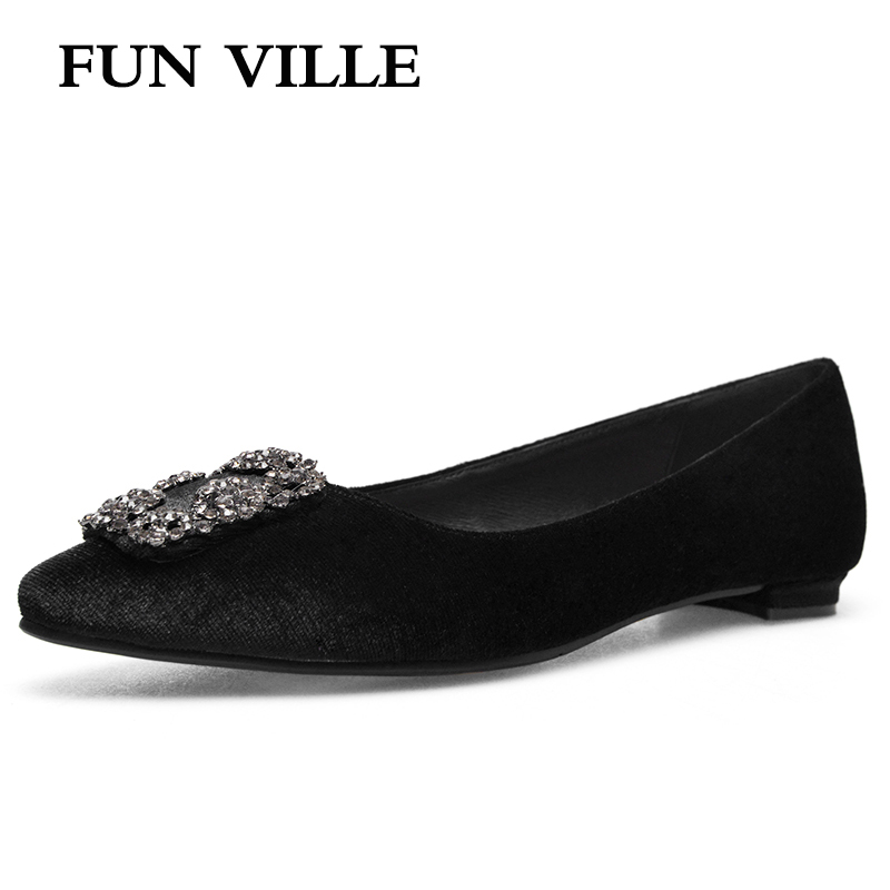 FUN VILLE 2018 spring summer Women Flats shoes high quality silk suede Casual shoes Female footwear Round toe slip on size 34-43 new 2017 spring summer women shoes pointed toe high quality brand fashion womens flats ladies plus size 41 sweet flock t179