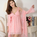 New Arrival Sexy women's Robe Set Free Shipping 2016 Nightdress + Robe Two Pieces Lace Princess Fairy Nightwear V-neck Sleepwear