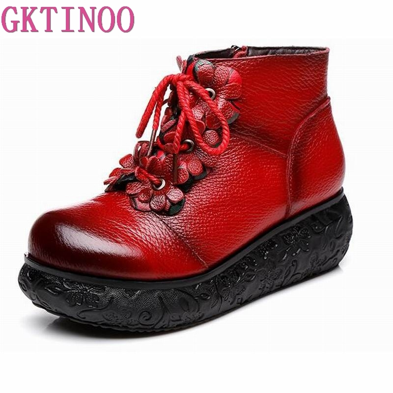 GKTINOO Platform Boots Women Handmade Genuine Leather Ankle Boots Ladies Shoes Soft Retro Martin Wedges Shoes for Women