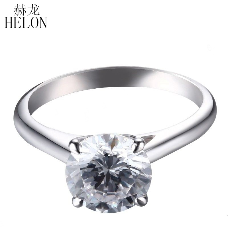 HELON Solid 14k White Gold 2 carat Diameter 8mm GH Color moissanite Engagement Ring Lab Grown Diamond Moissanite Ring For Women 18k white gold gh color moissanite pendant lab grown moissanite diamond necklace for women in fine jewelry