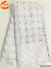Zeal High Quality African Lace Fabric 2017 Latest Guipure white & black Color Nigerian 26G35