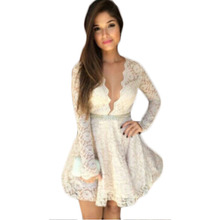 New Style Autumn Lace Inner Dress V-Neck Hollw Out Vestido De Renda Sexy Full Sleeve Mini Dress Ruched Solid Women Clothes EE35
